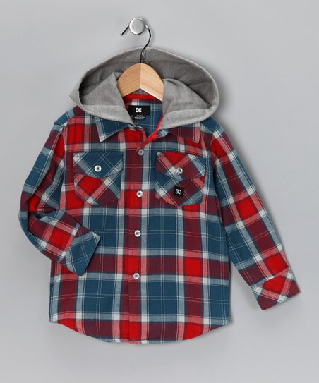 Blue &amp; Red Hooded Button-Up Shirt - Toddler