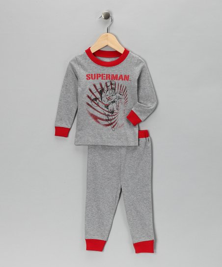 Gray & Red 'Superman' Pajama Set - Infant & Toddler
