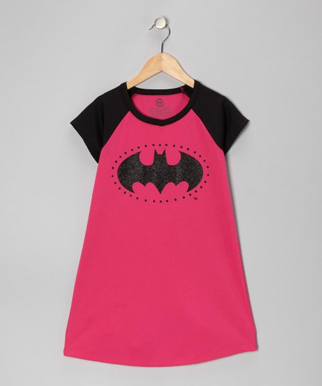 Hot Pink & Black Batgirl Nightgown - Girls