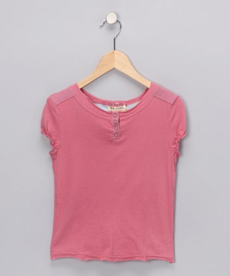 Mauve Puff-Sleeve Henley