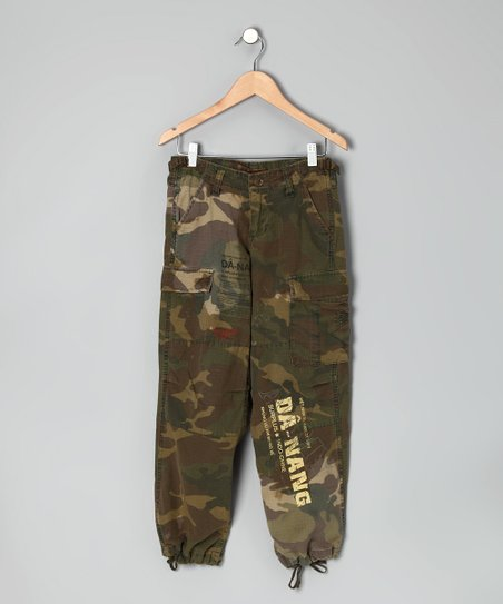 Green Camo Drawstring Cargo Pants