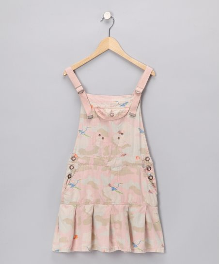 Pink Camo Bird Pleated Dress