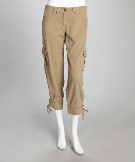 Tan Silk-Blend Cropped Pants
