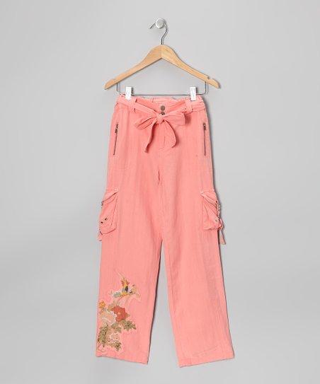 Crayon Pink Silk-Blend Belted Cargo Pants - Girls