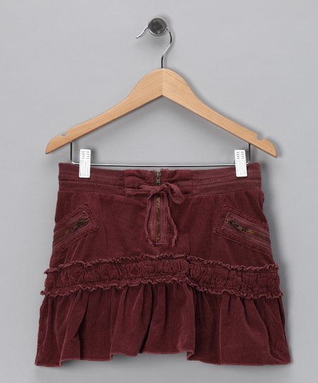 Eggplant Drawstring Corduroy Skirt - Girls