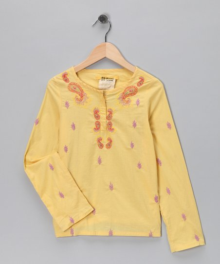 Yellow Embroidered Paisley Top
