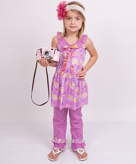 Violet Floral Yoke Top &amp; Pants - Girls