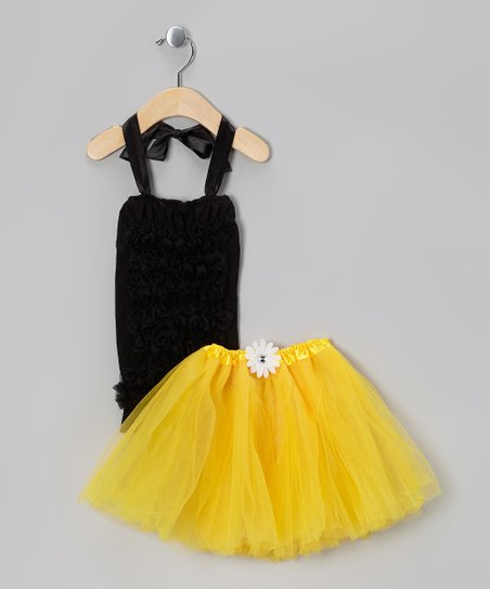 Black Ruffle Halter Top & Yellow Tutu - Infant, Toddler & Girls