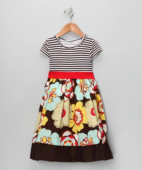 Red Floral Stripe Dress - Infant & Toddler