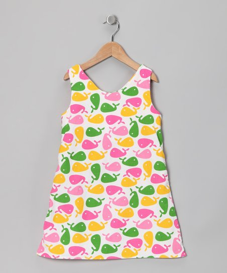 Pink & Green Whale Dress - Infant, Toddler & Girls