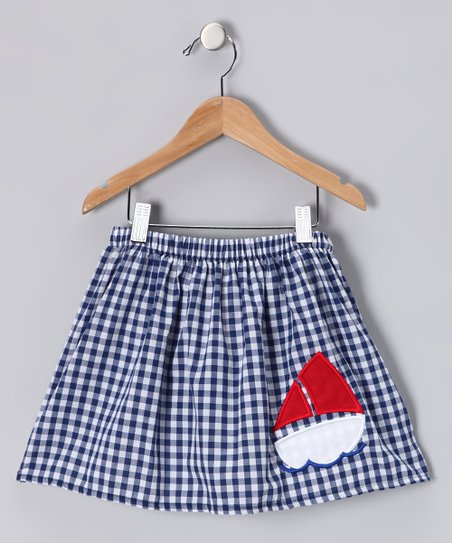 Blue & White Gingham Sailboat Skirt - Infant, Toddler & Girls