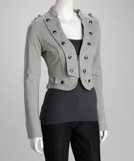 Heather Gray Military Button Cropped Jacket