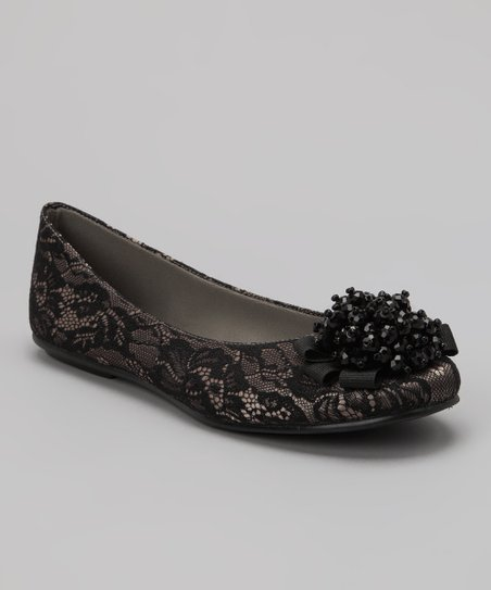 Natural & Black Lacey Flat