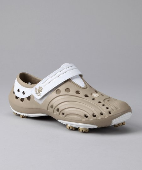 White & Tan Spirit Golf Shoe - Women