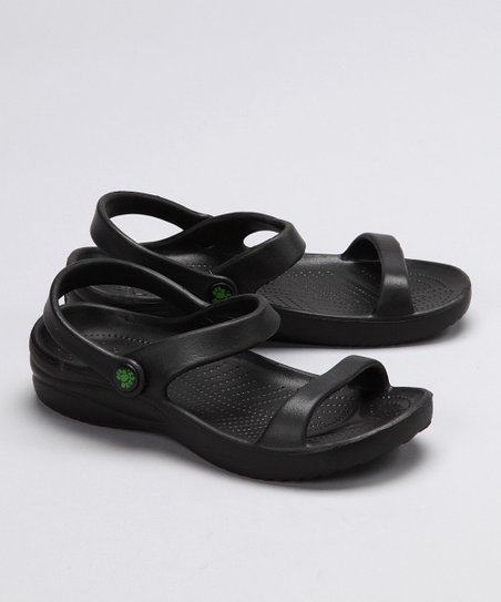 Black Triple-Strap Sandal - Girls