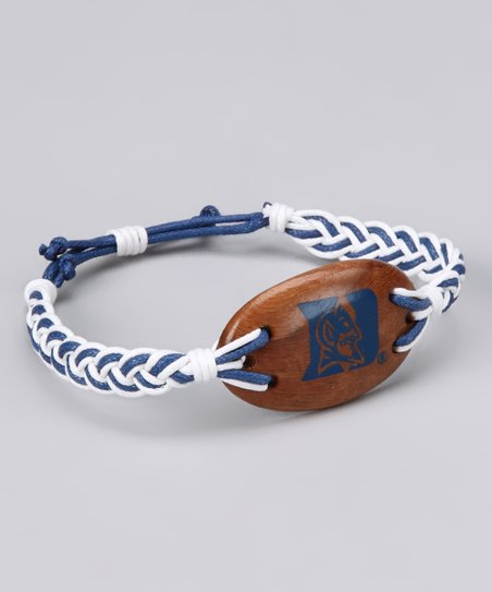 White &amp; Dark Blue Duke Cord Bracelet - Women