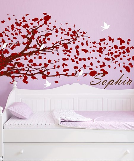 Red &amp; Brown Blowing Tree Personalized Wall Decal Set