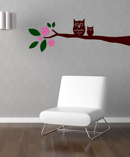 Pink &amp; Brown Owl on Branch Wall Decal Set