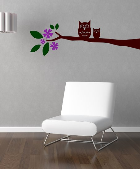 Orchid &amp; Brown Owl on Branch Wall Decal Set