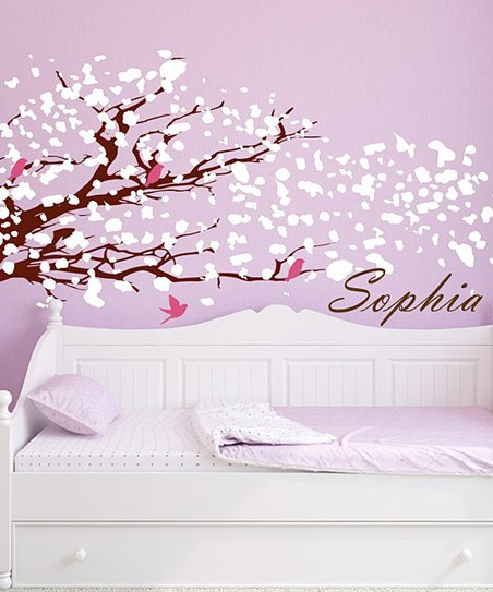 White Blowing Tree Personalized Wall Decal Set