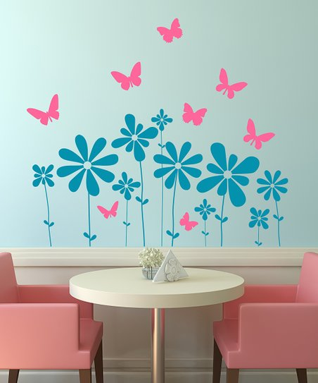 Teal & Pink Butterflies & Flowers Scene Wall Decal Set