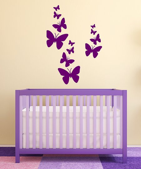 Orchid Butterflies Wall Decal Set