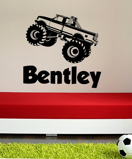 Black Monster Truck Personalized Wall Decal Set