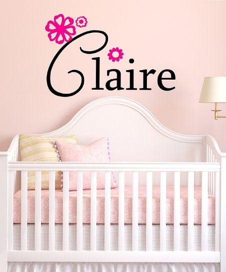 Black & Hot Pink Personalized Wall Decal