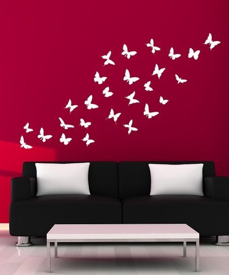 White Butterfly Wall Decal Set