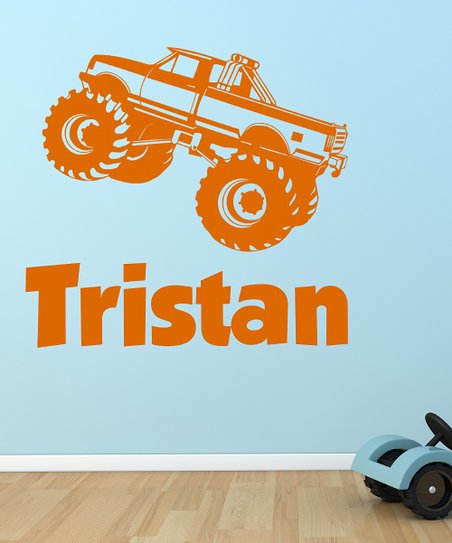 Orange Monster Truck Personalized Wall Decal Set