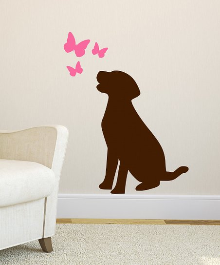 Brown &amp; Pink Dog &amp; Butterfly Wall Decal Set