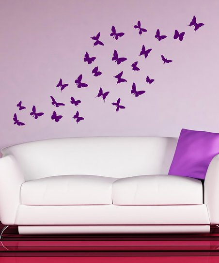 Purple Butterfly Wall Decal Set