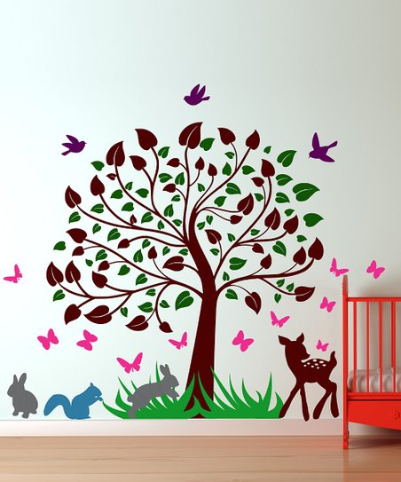 Wildlife Tree Wall Decal Set