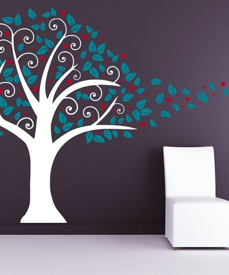 White & Teal Nursery Tree Blowing in the Wind Wall Decal Set