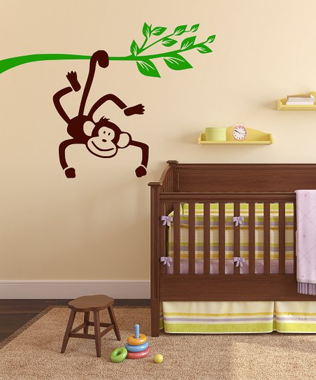 Brown &amp; Green Monkey Branch Wall Decal Set