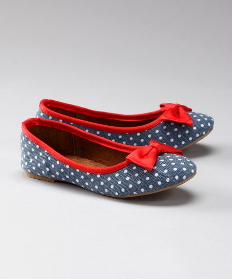 Navy & Red Polka Dot Flat