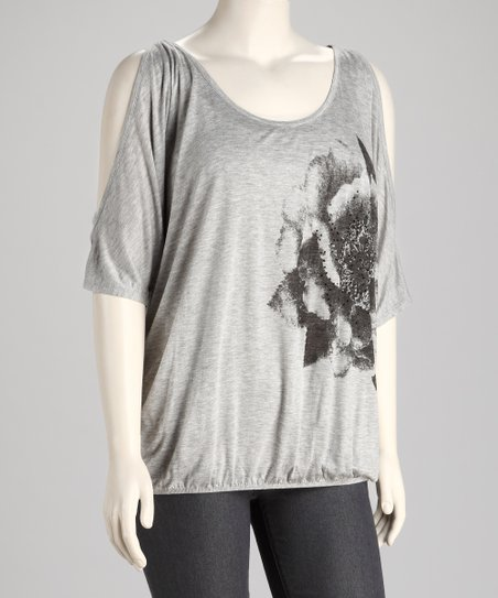 Heather Gray Blossom Plus-Size Cutout Top