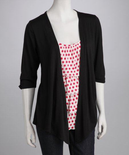 Black & Fuchsia Polka Dot Layered Open Cardigan
