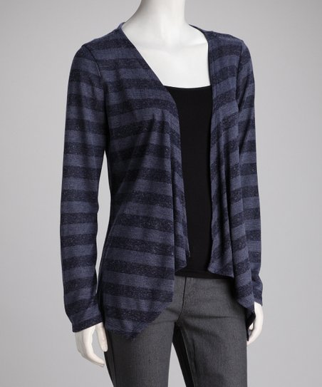 Navy Stripe Open Cardigan