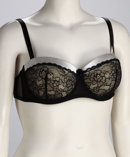 Ivory &amp; Black Lace Convertible Bra - Women &amp; Plus