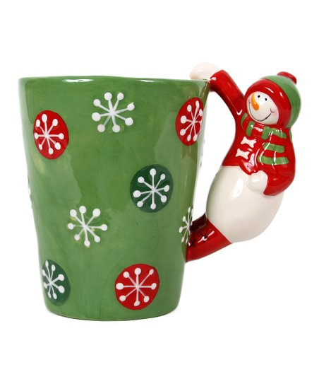 Red & Green Snowman-Handle Latte Mug