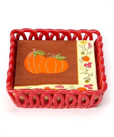 Red Woven Basket & Napkin Set
