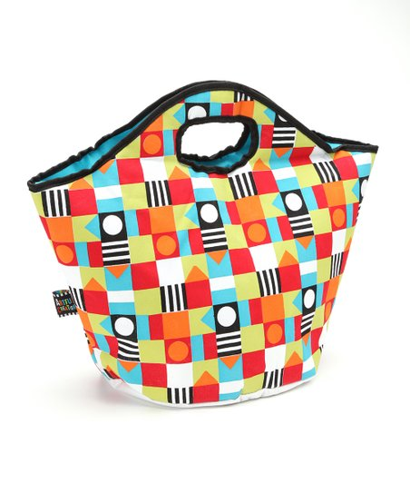 Red & Cyan Circle & Square Insulated Tote