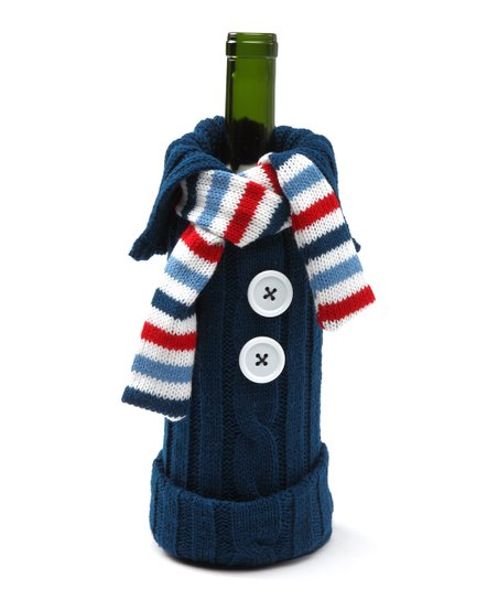 Navy & Red Knit Sweater Wine Bottle Cover