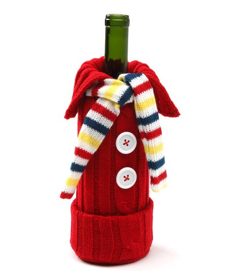Red & Yellow Knit Sweater Wine Bottle Cover