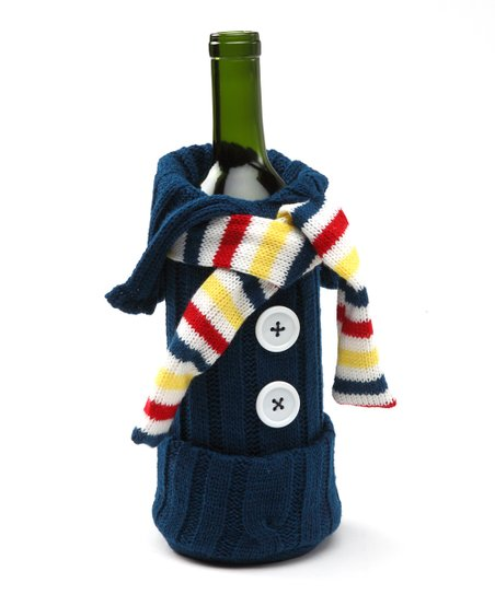 Navy & Yellow Knit Sweater Wine Bottle Cover
