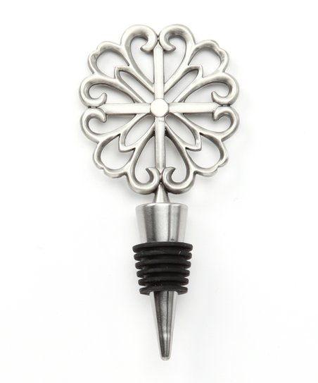 Rose Pewter Scroll Bottle Stopper