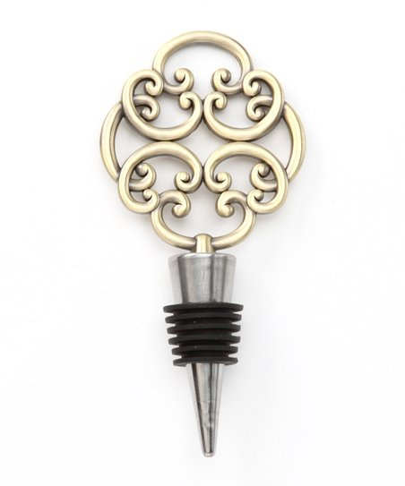 Keyhole Brass Scroll Bottle Stopper
