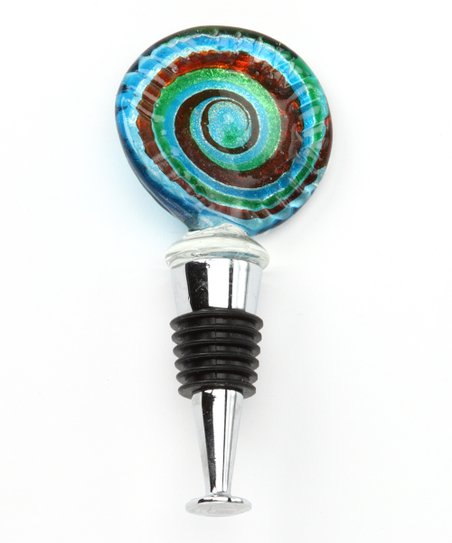 Green & Blue Swirl Round Bottle Stopper