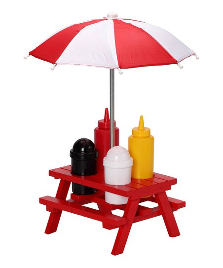 Red Picnic Table Condiment Set